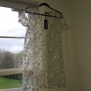 NWT Boohoo Sequin Sheer Mesh Festival Shift Dress